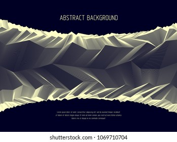 Line art 3d abstract vector background with geometric linear terrain surface of fantastic cosmic planet landscape, science fiction illustration.