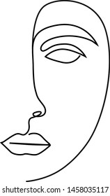 Line Art Abstract minimal faces. Continuous line drawing.