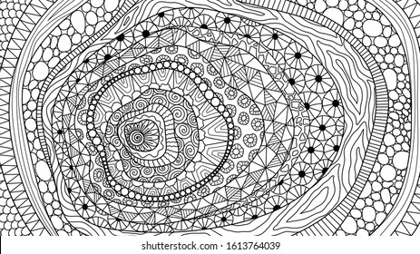 Line art abstract zentangle-inspired design for background, adult coloring book,coloring page and so on. Vector illustration