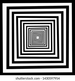 Line art abstrak square.patern square.illusion black white.simple picture illustrasion