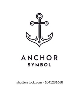 Line Art Anchor logo design inspiration