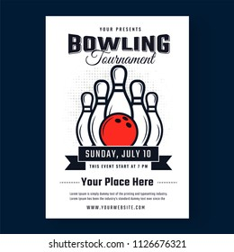 Line art ball and pins illustration on white template for poster design isolated on blue background for Bowling tournament concept.