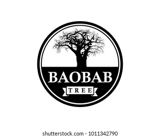 Line Art Baobab Tree Illustration Vintage Circle Logo Vector