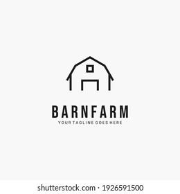 Line art barn minimalist logo vector symbol illustration design