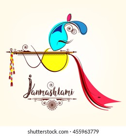Line Art based Creative Illustration of Lord Krishna with Floral decorated flute and stylish text on the occassion of Janmashtami.