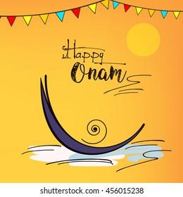 Line Art based Illustration of Evening Scene with Snake Boat at river on decorative background for South Indian Festival Onam.