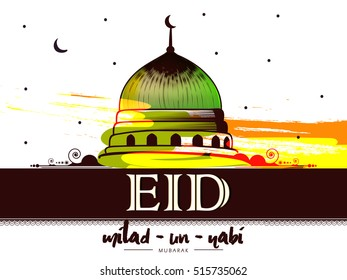 line art based vector abstract with nice and creative  illustration of green mosque , moon and stars  in a background with the text of eid and Milad-Un-Nabi mubarak
