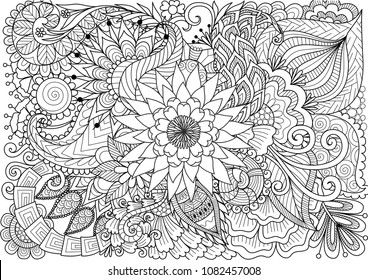 Line art of beautiful flowers for background and coloring book page for adult and kids. Vector illustration