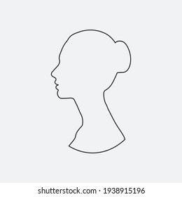 line art beauty face girl. continuous line drawing