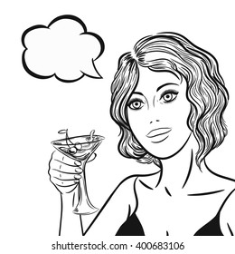 Line art bikini woman with cocktail and thinking bubble in pop art comics style, black and white vector illustration