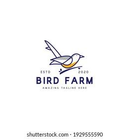 line art bird logo design concept