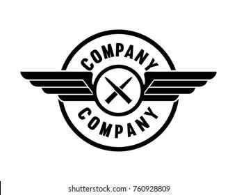 Line Art Black Bullet Cross with Wings Illustration Logo Symbol