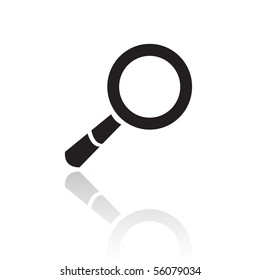 Line art black magnifier isolated on white