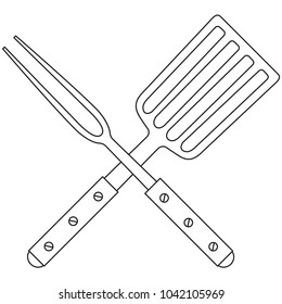 Line art black and white bbq fork spatula cross handle. Outdoors cooking vector illustration for gift card certificate banner sticker, badge, sign, stamp, logo, label, icon, poster, patch, sticker