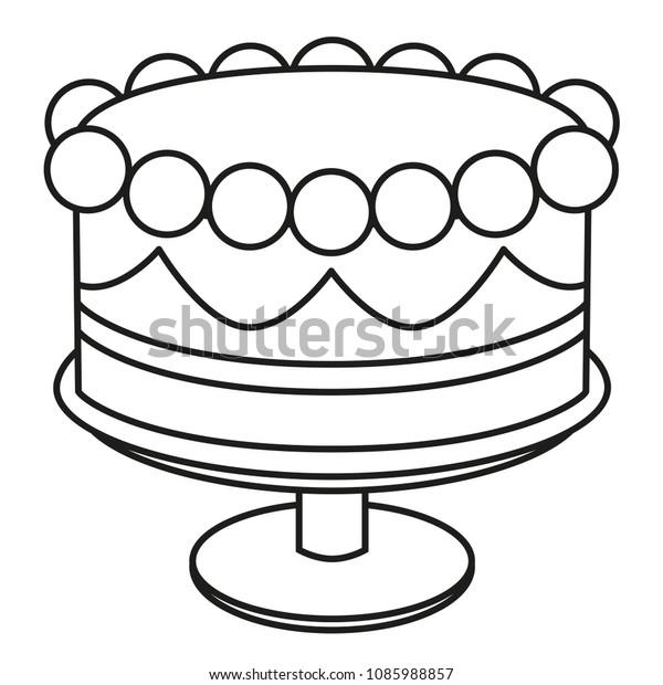 Line Art Black White Birthday Cake Stock Vector Royalty Free 1085988857