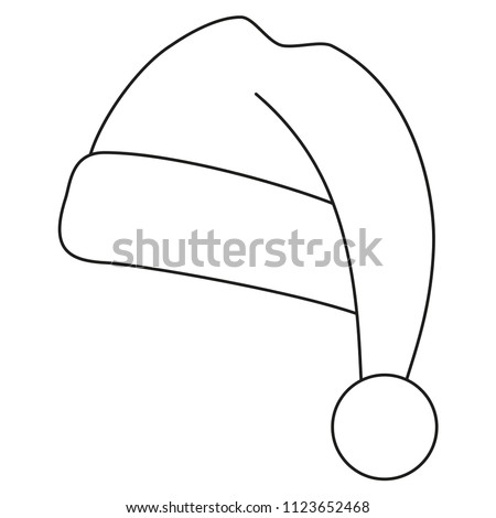 line art black and white christmas hat coloring book page for adults and kids