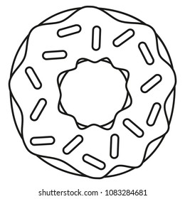 Line art black and white donut. Coloring page for adults and kids. Sweet food vector illustration for icon, sticker sign, patch, certificate badge, gift card, label, poster, banner, flayer invitation