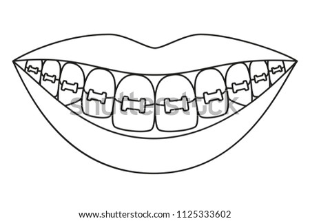 line art black white healthy 450w 1125333602 line art black white healthy smile stock vector (royalty free