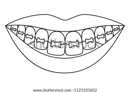line art black white healthy 450w 1125333602 line art black white healthy smile stock vector (royalty free