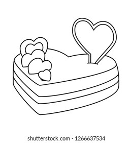 Line art black and white heart cake. Sweet treat for wedding date. St. Valentine day themed vector illustration for icon, stamp, label, badge, certificate, gift card, poster or banner decoration