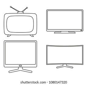 Line art black and white modern tv set. Media theme vector illustration for icon, sticker sign, patch, certificate badge, gift card, stamp logo, label, poster, web banner, flayer invitation