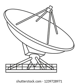 Line art black and white radar antena. Science navigational equipment. Media theme vector illustration for icon, logo, stamp, label, badge, certificate, leaflet, poster, brochure or banner decoration