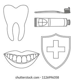 Line art black and white teeth cleaning 5 element set. Proper oral hygiene concept. Dental care vector illustration for icon, sticker, stamp, label, badge, certificate, leaflet or banner decoration