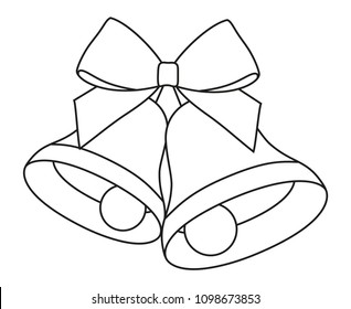 Line art black and white two bells with ribbon bow. Coloring book page for adults and kids. New year holiday themed vector illustration for icon, sticker, label, sign, badge or gift card decoration