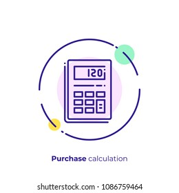 Line art budget calculator. Finance calculation. Scalable vector icon in modern outline style. Lineart elements vector illustration.