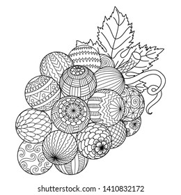 Line art of a bunch of grapes for printing and adult coloring book or coloring page. Vector illustration