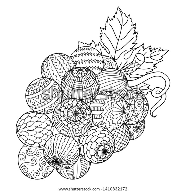 Line Art Bunch Grapes Printing Adult Stock Image | Download Now