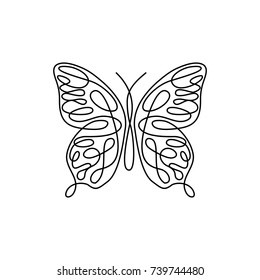 Line art butterfly. Abstract modern decoration. Vector illustration. One line drawing. Fancy line art. Black and white. Trendy concept for logo, card, banner, poster flyer