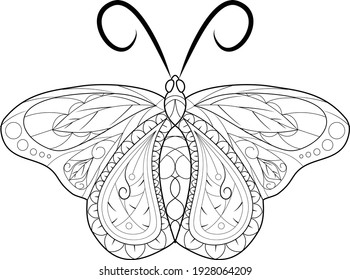Line art of a butterfly for adult coloring book, coloring page, printing on product and so on. Vector illustration and zentangle elements.