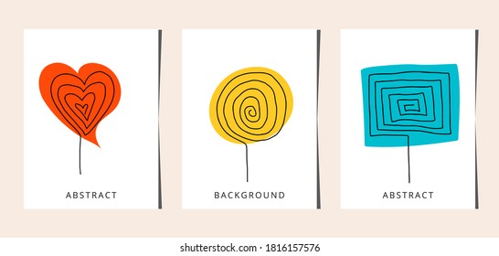 Line art candy set. One line drawing. line art, card, banner, poster flyer, vector illustration.
