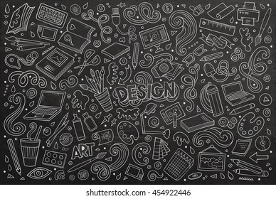 Line art chalkboard vector hand drawn doodle cartoon set of design theme items, objects and symbols