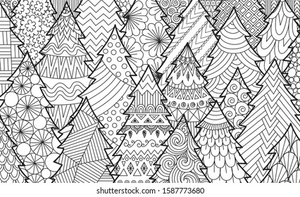 Line art of Christmas tree for background, adult coloring book, coloring page and print on product. Vector illustration