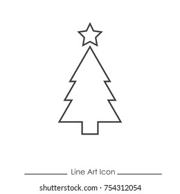 Line Art Christmas Tree and Star Icon Using For Your Presentation, Website And Application
