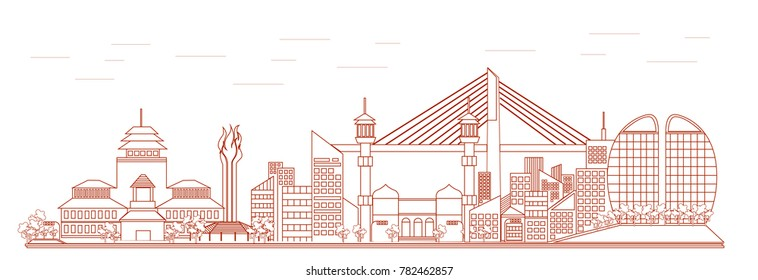 Line Art Cityscape of Bandung City - Indonesia