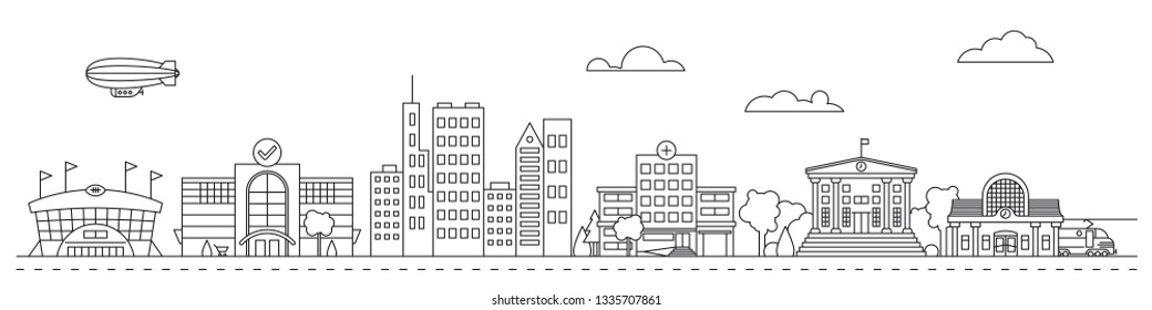 Line art cityscape vector illustration with public buildings, houses, stadium, mall and train station