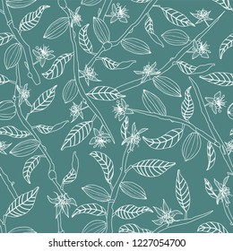 Line art cocoa tree branches bearing flowers and fruit pods seamless vector pattern background. Great for fabric, packaging, paper, stationery, home decor, wallpaper and more.