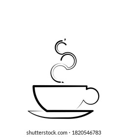 Line art coffee cup in beautiful style isolated on white background. Ink line drawing vector illustration. Graphic element. Contour symbol. Outline icon. Clip art Poster for print hot drink with steam