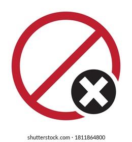 Line art color icon Delete, Cancel or Close