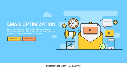 Line art concept for email optimization, email marketing strategy, subscription vector banner with icons and texts isolated on blue background