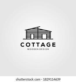 line art cottage village logo vector illustration