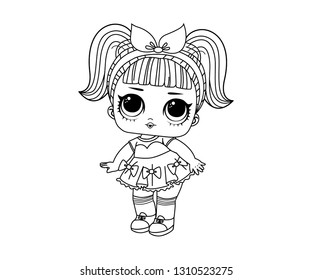 Line Art Cute Funny LOL Dolls Surprised with Branded Hair Vector Illustration - Outline Image