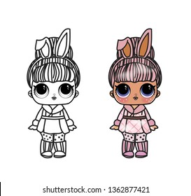 Line Art Cute Girl, lol  Vector Illustration - Outline Image for coloring book doll