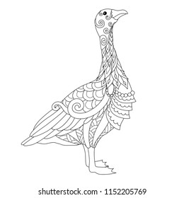 Line art of cute goose in York city, Uk. for design element and coloring book page. Vector illustration