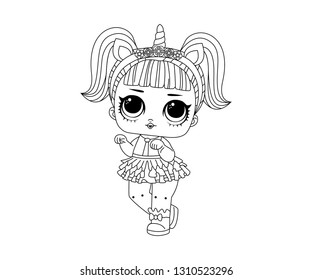 Line Art Cute LOL Dolls Surprised with Unicorn Hair Vector Illustration - Outline Image
