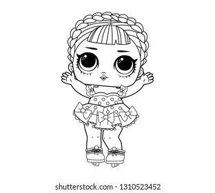 Line Art Cute LOL Dolls Surprised with Hair Braid Vector Illustration - Outline Image