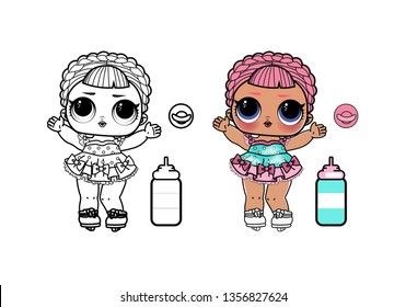 Line Art Cute LOL Dolls Surprised  Vector Illustration - Outline Image for coloring book